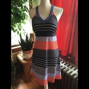 Dresses & Skirts - Blue stripe casual midi dress size M